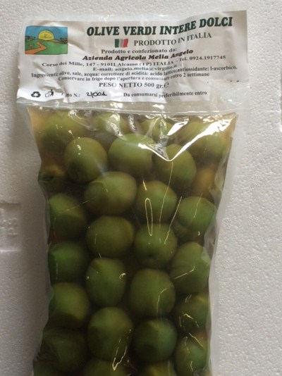 Tender green olives in brine